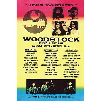 Woodstock Line Up Poster Poster Print