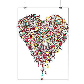 Matte or Glossy Poster with Colorful Heart Valentine | Wellcoda | *d1274