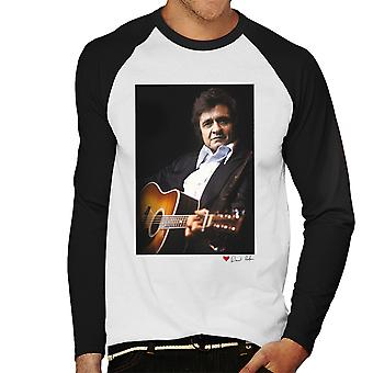Johnny Cash Performing Guitar Shot London 1983 White Men's Baseball Long Sleeved T-Shirt