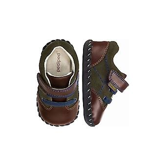 Pediped Boys Pre-walker Shoes In Olive Green Suede And Brown Leather Pediped Gordon