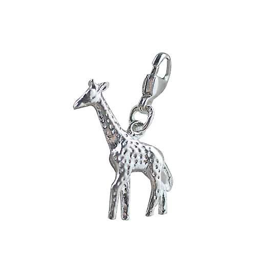 Zilveren 24x13mm Giraffe charme op een kreeft trigger