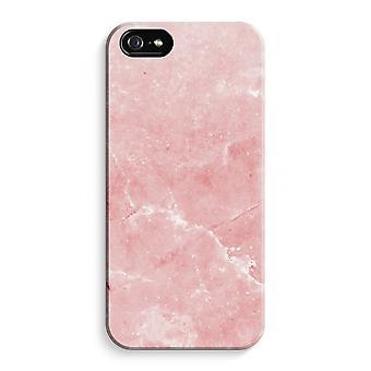 iPhone 5 / 5S / SE fuld Print sag (blank) - Pink marmor
