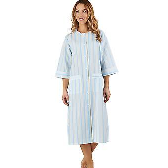 Slenderella HC1224 Women's Stripe Seersucker Blue Dressing Gown Loungewear Bath Robe 3/4 Length Sleeve Robe
