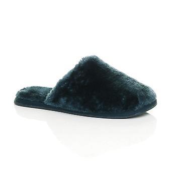 Ajvani womens plat hiver luxe confortable moelleux faux peau de mouton doublée de fourrure feuillet sur chaussons mules