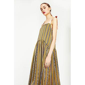 English Factory Striped Midi Dress With Tie Detailing