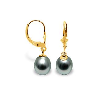Earrings ears Tahitian pearls and yellow gold 375/1000