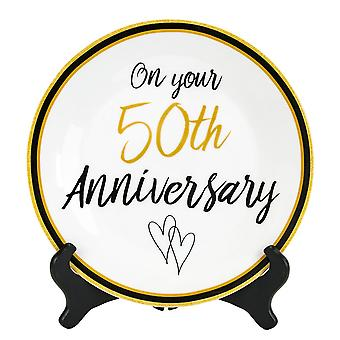 Beautiful 50th Wedding Anniversary Ceramic Plate with Black Wooden Stand