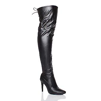 Ajvani womens high heel pointed toe over the knee stretch elastic riding boots