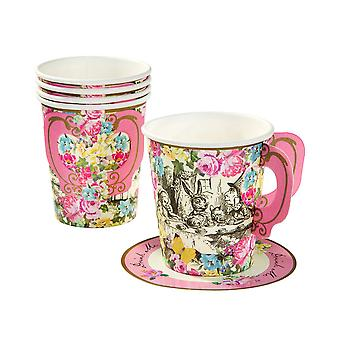 Truly Alice Whimsical Cup & Saucers x 12 Alice in Wonderland Mad Hatters