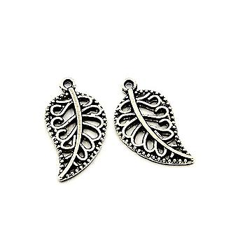 Packet 20 x Antique Silver Tibetan 18mm Leaf Charm/Pendant HA08580