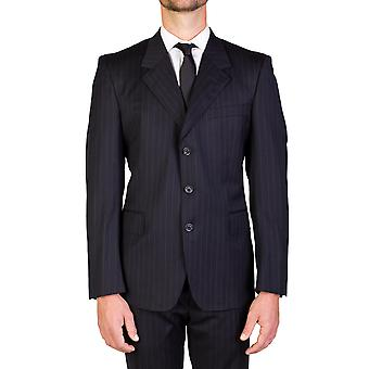 Yves Saint Laurent Men's Wool Three-Button Suit Black Pinstripes