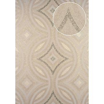 Graphic wallpaper ATLAS here-5135-4 non-woven wallpaper embossed Kaleidoscope-style shimmering cream 7,035 m2 perl perl-beige white