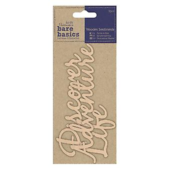 DoCrafts Wooden Sentiments Bare Basics Discover, Adventure And Life