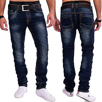 Men's Slim Fit Jeans Denim Crinkle Washed Dirty Club Wear pants stretchy NERANO