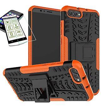 Hybrid Case 2teilig Orange für Huawei Honor View 10 / V10 + Panzerglas Tasche Hülle Cover