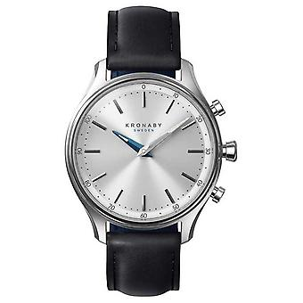 Kronaby 38mm SEKEL Bluetooth svart skinn stropp Smartwatch A1000-0657 se