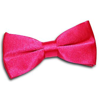 Hot Pink Plain Satin Pre-Tied Bow Tie