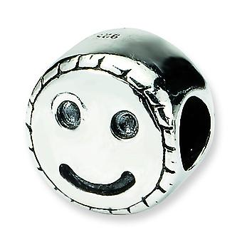 Sterlingsilber polierte Antikfinish Reflexionen Kinder Smiley Gesicht Bead Charm
