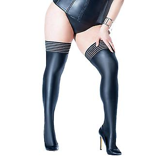 Coquette Plus Size Matte Wet Look Striped Elastic Top Thigh High Stocking