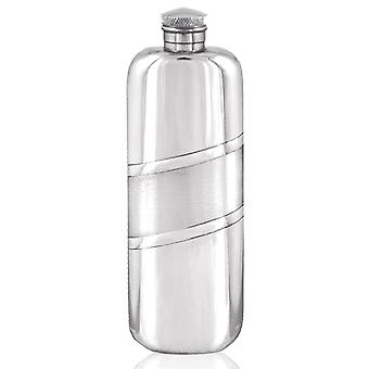 Banda diagonal de cetim bolso de cima do Pewter Hip Flask - 3oz
