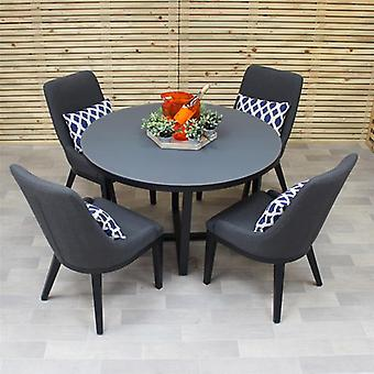 Maze Lounge 4 Seater Round Pacific Outdoor Fabric Garden Furniture Set