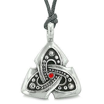 Gamle Viking keltiske Triquetra knude Amulet beskytte beføjelser Royal rød krystal vedhæng halskæde