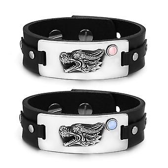 Courage Dragon Protection Amulets Love Couples Set Blue Pink Simulated Cats Eye Leather Bracelets