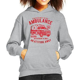 Emergency Ride Ambulance Retro Logo Kid's Hooded Sweatshirt