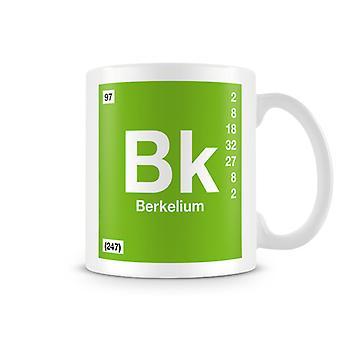Wetenschappelijke bedrukte Mok met Element symbool 097 Bk - Berkelium