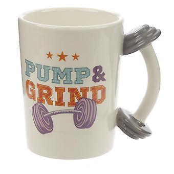 Hantel Tasse Pump & Grind  cremefarben, bedruckt, 100% Keramik, Fassungsvermögen ca. 470 ml..
