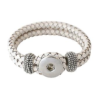 Leather bracelet for click buttons white Size 22 cm