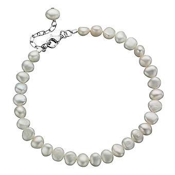 Delar Silver sötvatten pärla enrads Armband - Silver/vit