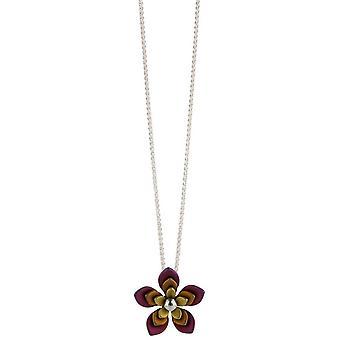 Ti2 Titanium doppelte fünf Blütenblatt Blume Halskette - Brown