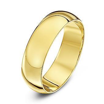 Звезда обручальные кольца 18-каратного желтого золота тяжелых D 6 мм обручальное кольцо
