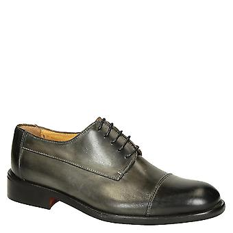 Grey delavé calf leather men's plain cap toe derby shoes