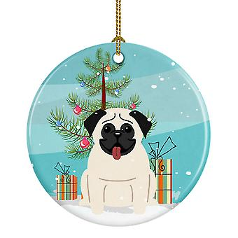Carolines skatter BB4129CO1 Merry Christmas Tree Pug krem keramiske Ornament