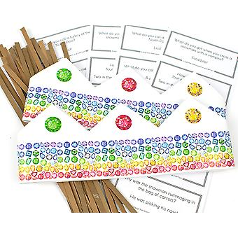 Rainbow Jewel Adjustable Paper Hats, Snaps & Christmas Jokes for Cracker Making Crafts - 10 or 25 Pack