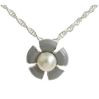 Cavendish Français en argent et émail gris fleur pendentif sans chaîne