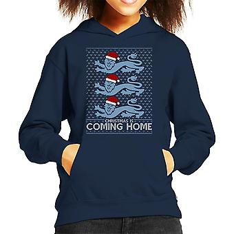 Christmas Is Coming Home The Lions England Football Kid's Hooded Sweatshirt