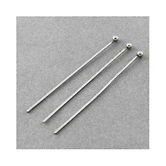 Packet 20 x Silver 304 Stainless Steel Ball Head Pins 30mm Y01670