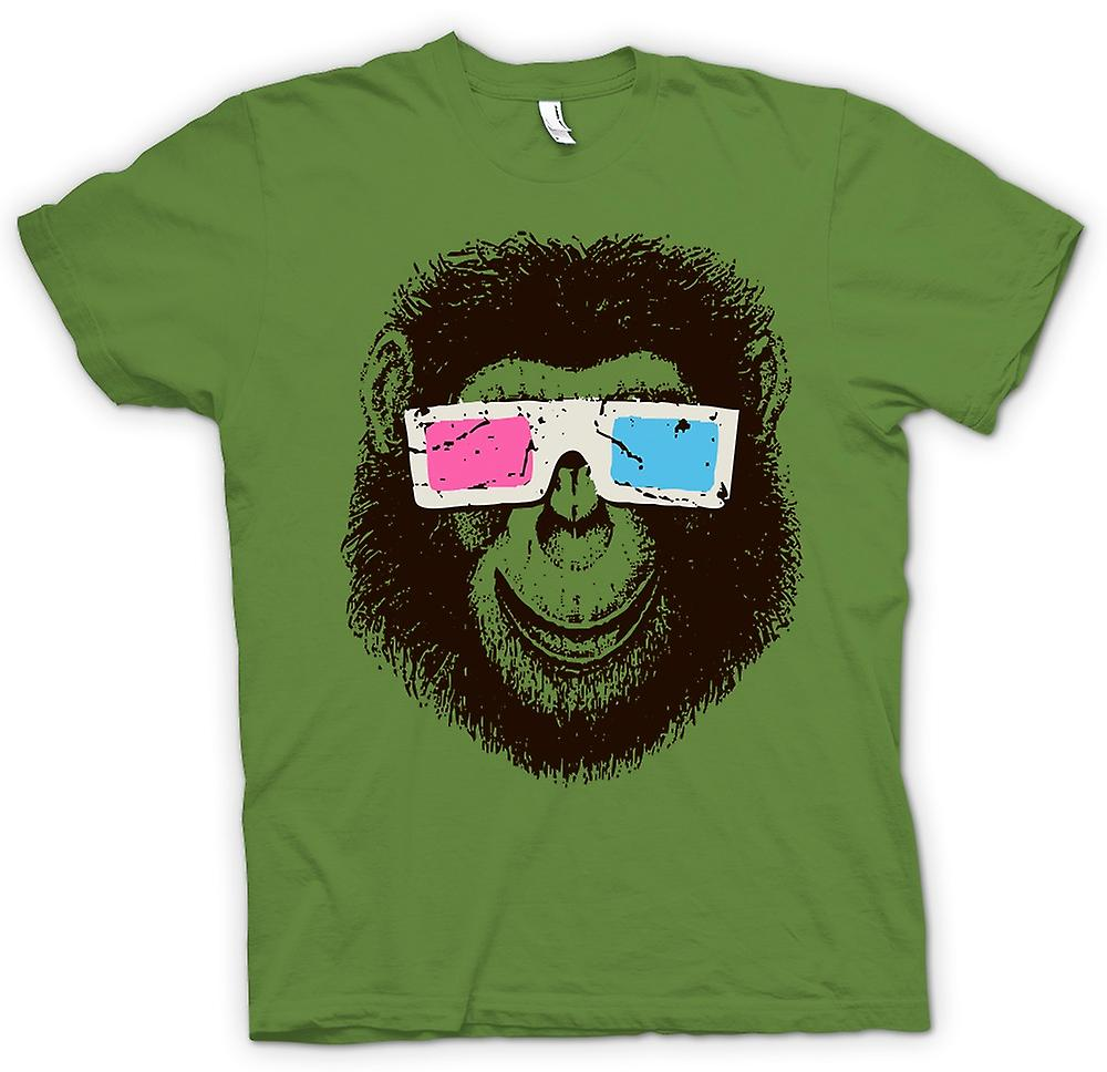 Mens T-shirt - Monkey Ape 3D-Brille - coole Grafik-Design