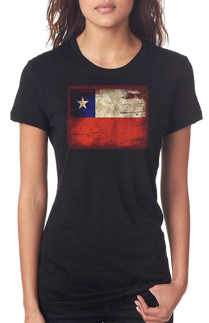 Cile cileno Grunge Flag Ladies T Shirt