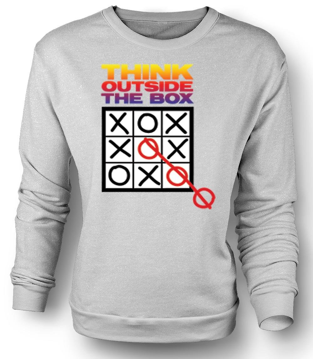 Mens Sweatshirt Think Outside The Box Tic Tac Toe