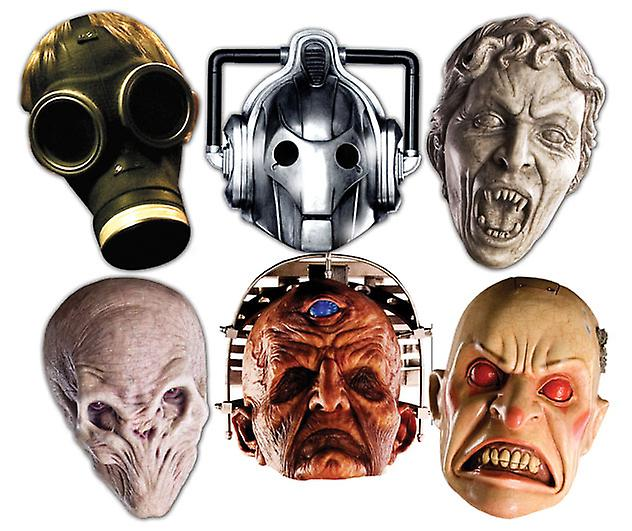 Doctor Who Monsters Halloween Card Face Masks Set of 6 (Cyberman, Silent, Smiler, Davros, Empty Child and Weeping Angel)