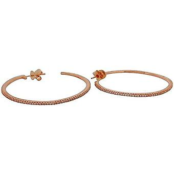TOC Rose-Goldtone Sterling Silver CZ Set Creole Hoop Earrings 42mm