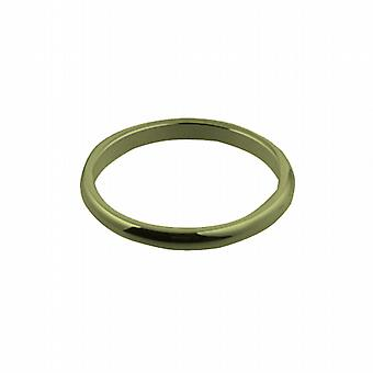 9ct Gold 2mm plain D shaped Wedding Ring Size I