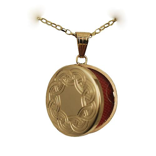 9ct Gold 23mm round flat Celtic Hand engraved Locket with a belcher chain