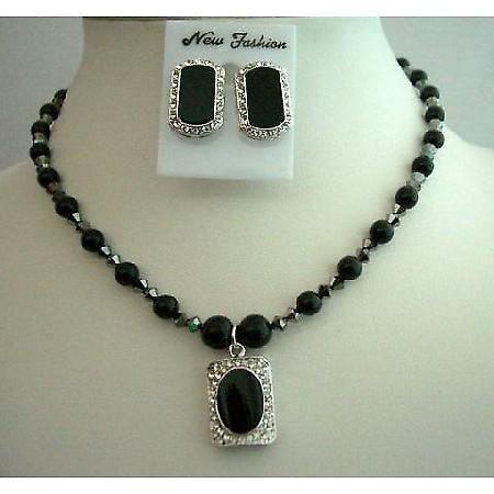 Mystic Pearls Jewelry Swarovski Black Pearls Necklace Set Onyx Stone