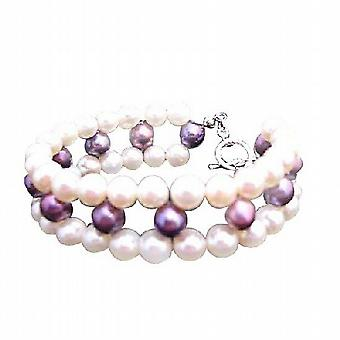 Superior Quality Freshwater Pearls Bracelet Tripple Strand Bracelet w/ Metallic Purple Freshwater Pearl