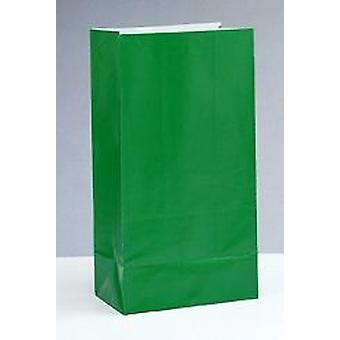 12 Green Paper Party Bags | Kids Party Loot Bags